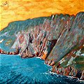 detail of Donegal painting: Slieve League Cliffs
