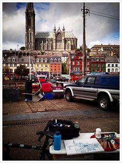 painting Cobh on the bike