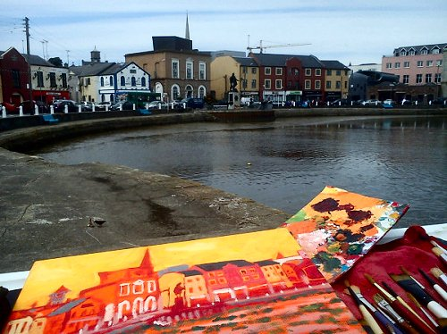 Crescent Quay, Wexford, painting it on a bike