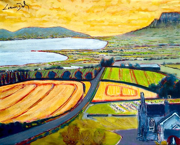 Painting of Lough Foyle, Magilligan, and Binevenagh from up by St Finlough's Church on the Loughermore Road