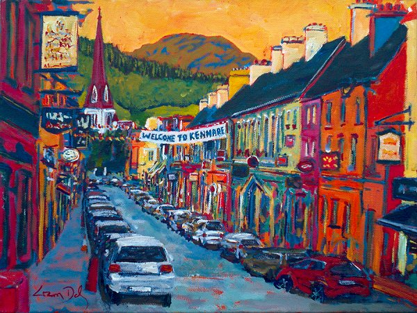 Painting looking down Henry Street in Kenmare in Kerry